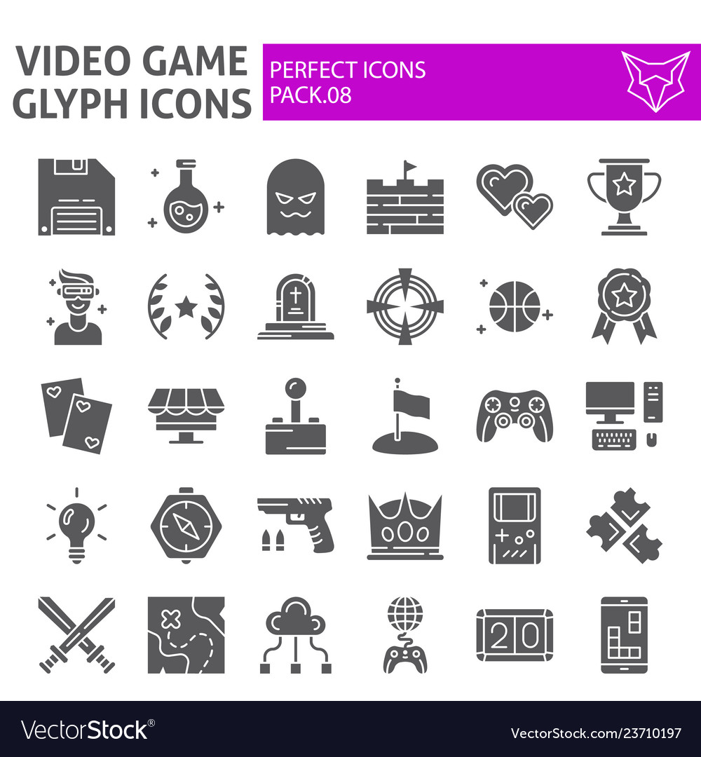 Video game glyph icon set play symbols collection
