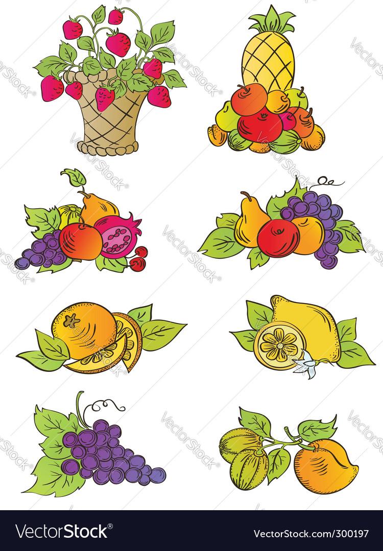 Vintage fruits set