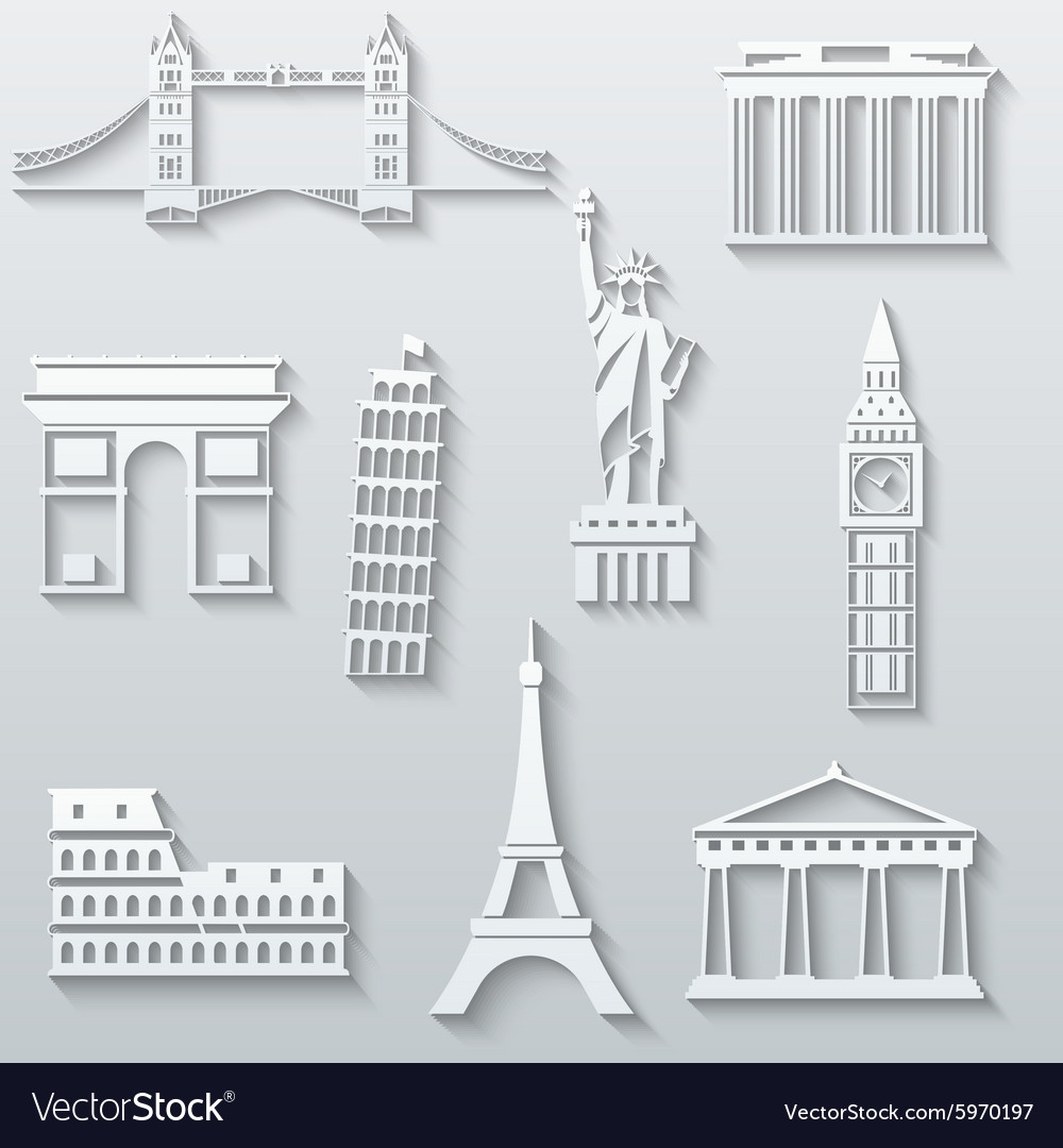 World landmarks abstract flat paper icons set