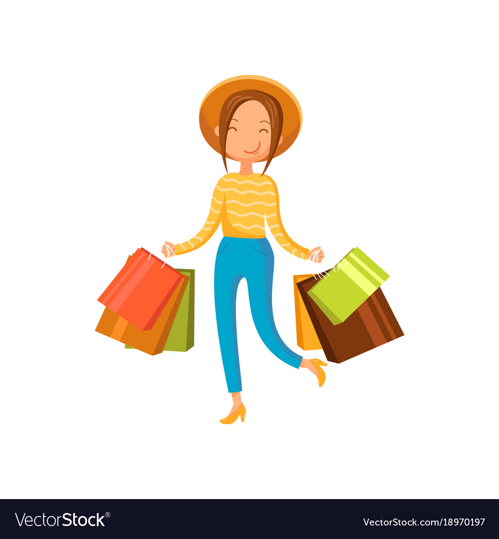 Young happy woman wearing in a hat with shopping