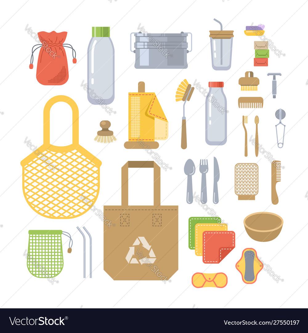 Zero waste eco friendly utensils flat icons set