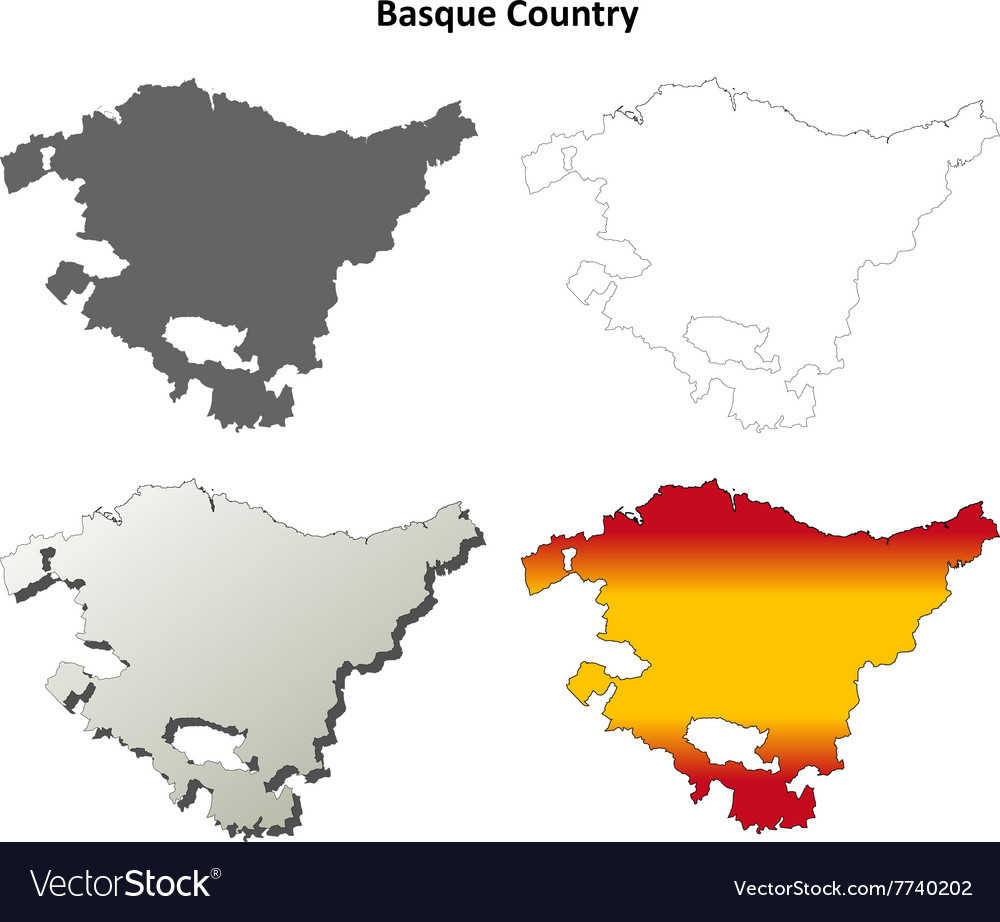 Basque Country Blank Detailed Outline Map Set Vector Image