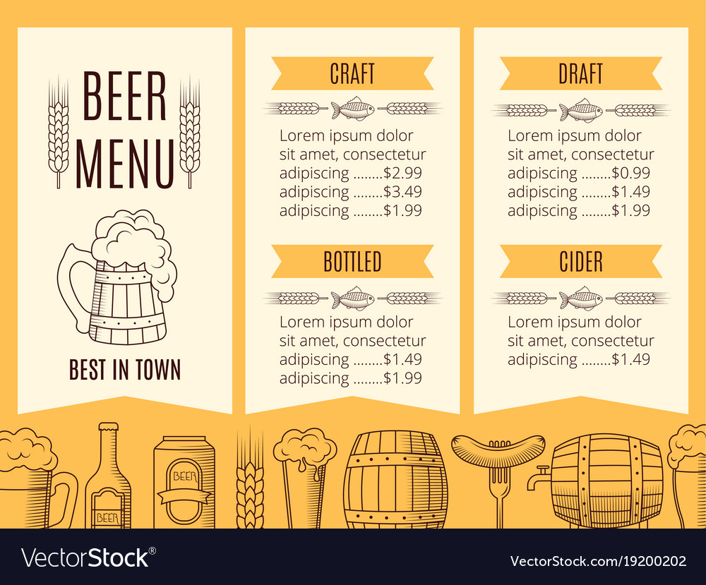 Beer Menu Template | Beer Menu Template Royalty Free Vector Image Vectorstock