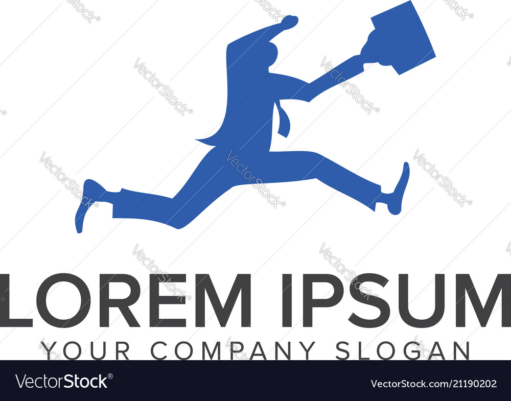 Business man run people logo design concept