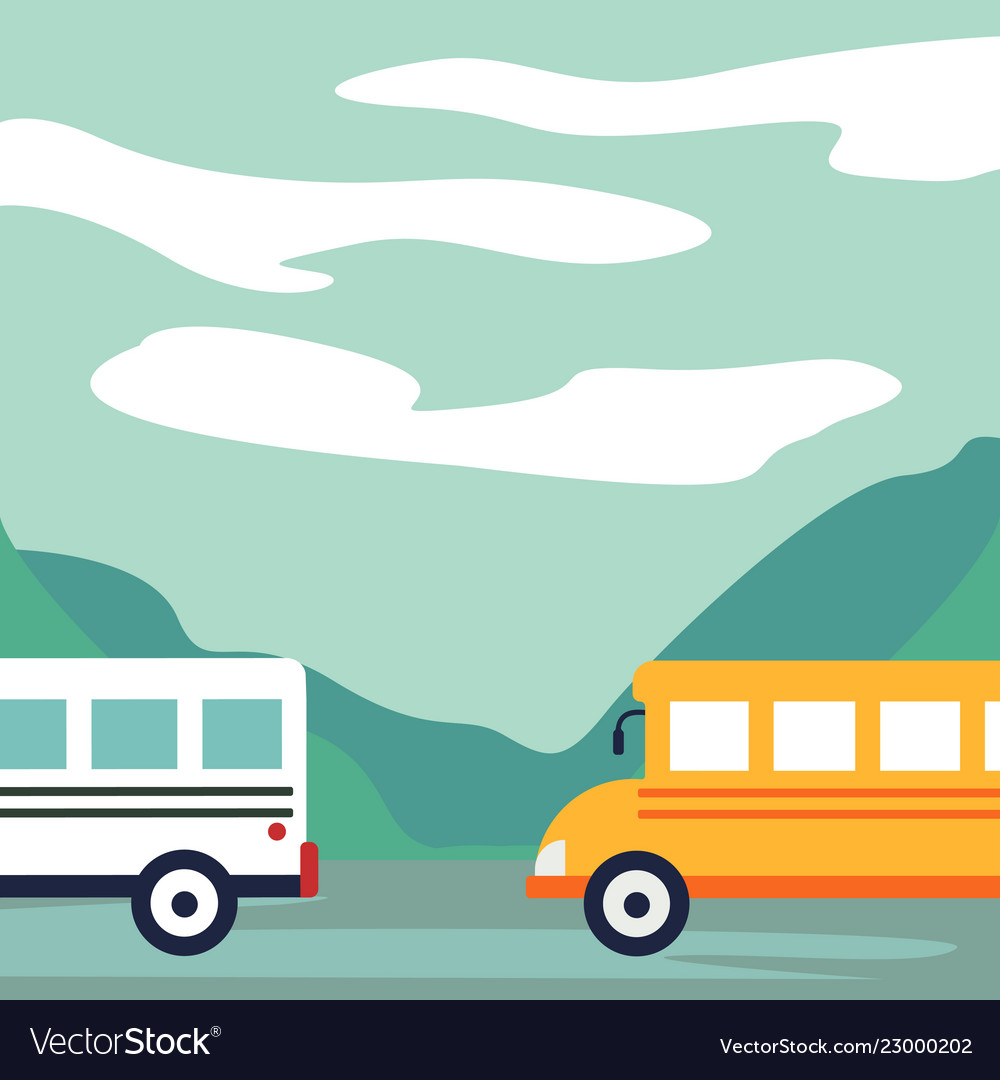 Cars buses on the road recreation area lake in