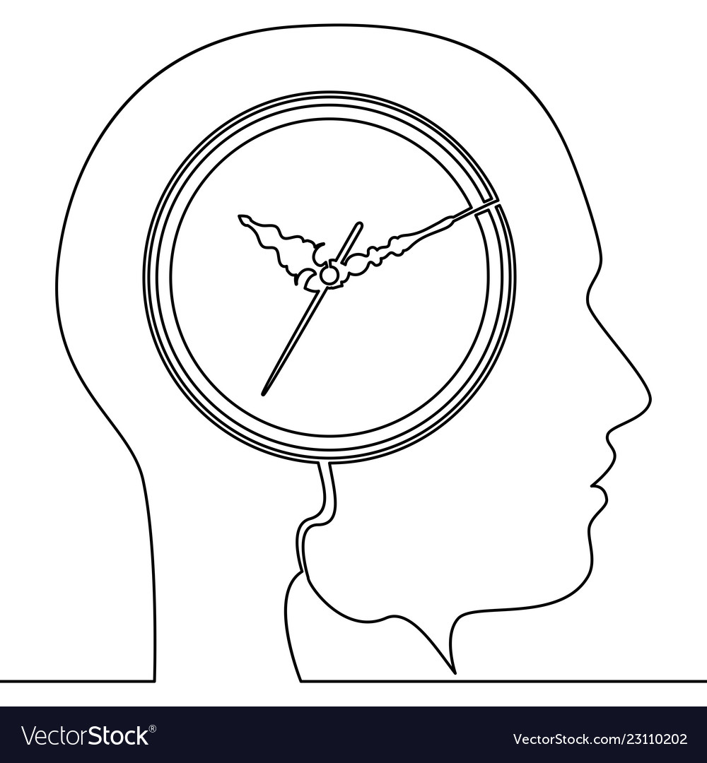 Continuous one line human head with clock icon