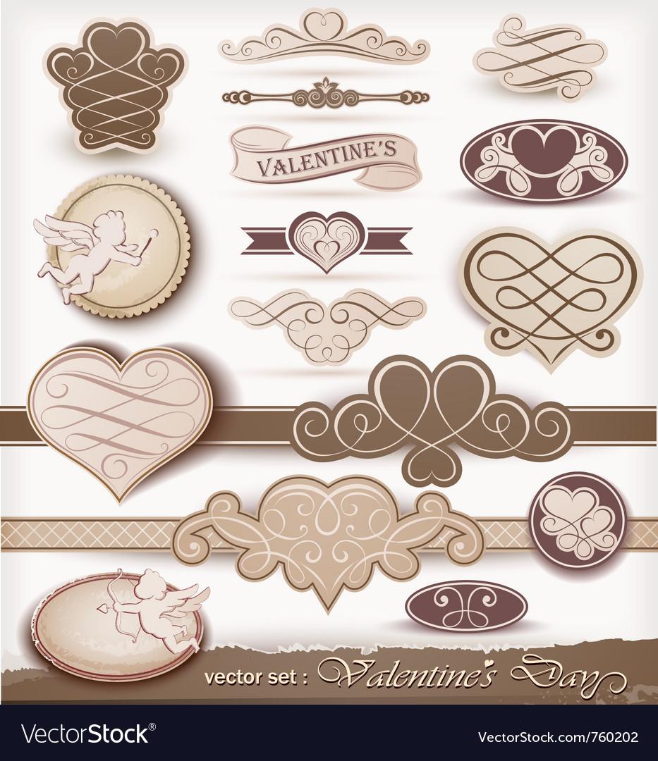Decorative elements on valentines day