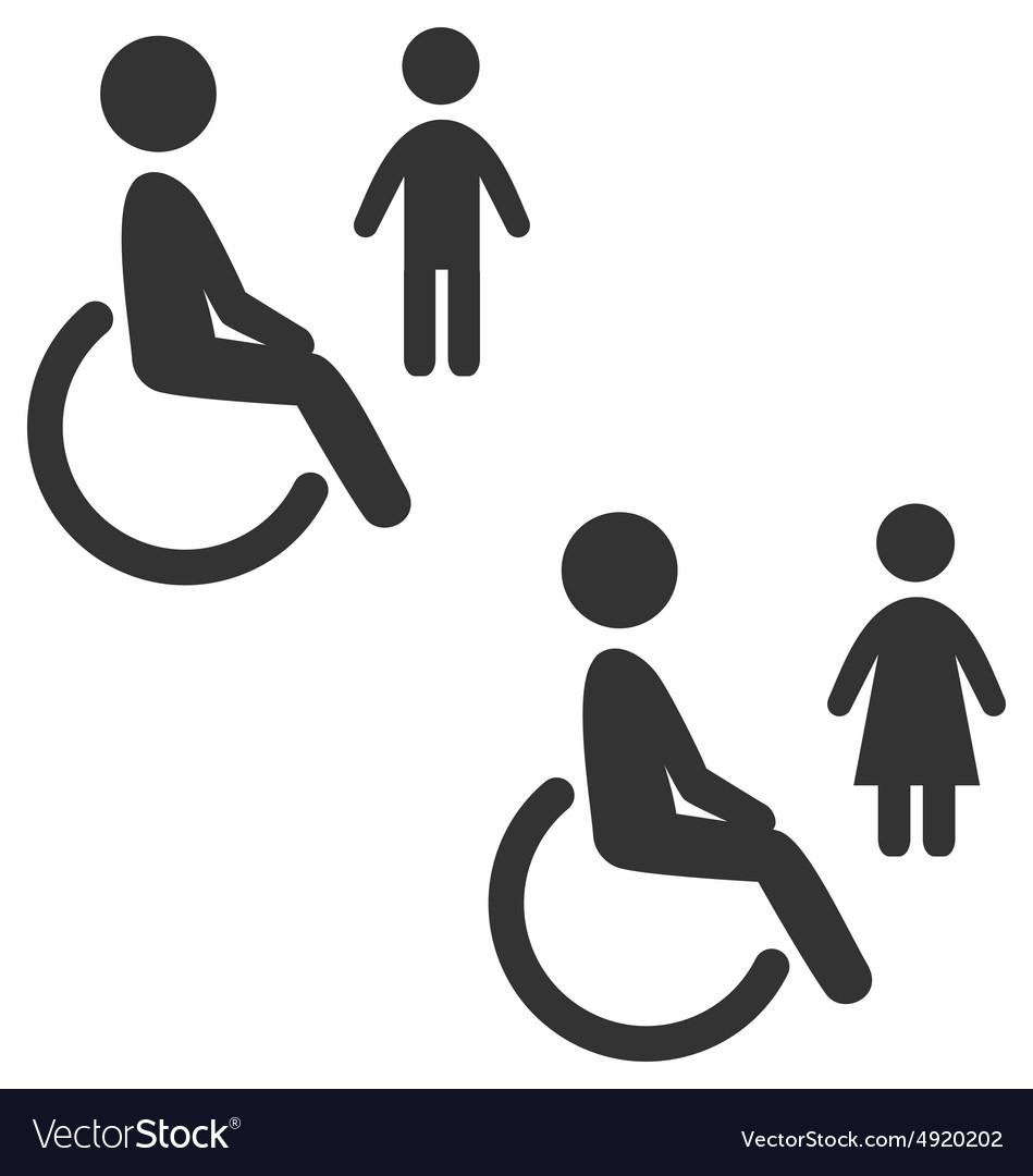Disability man pictogram flat icon wc female male
