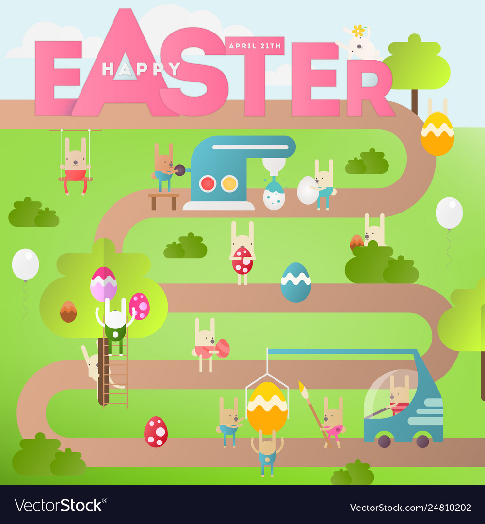 Easter egg hunt on park map