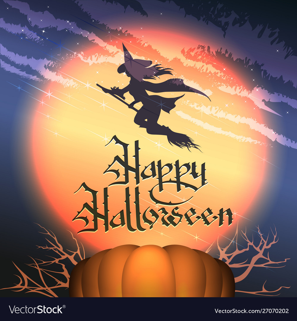 Happy halloween poster with pumpkin and flying