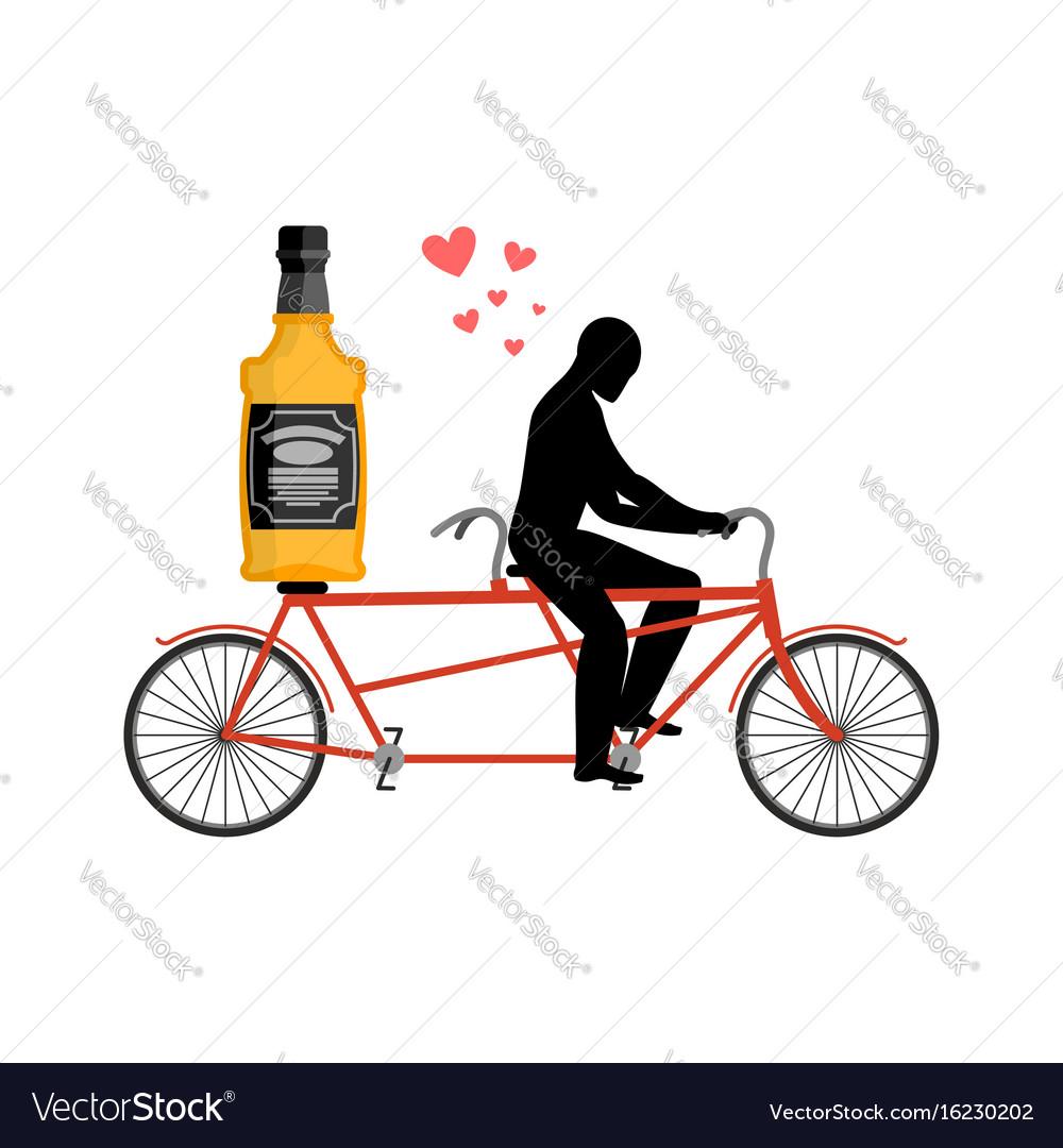 Lover drink alcohol bottle of whiskey on bike man