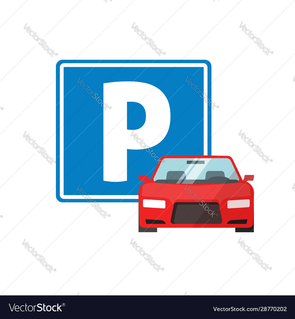 Parking road sign with car vehicle or automobile