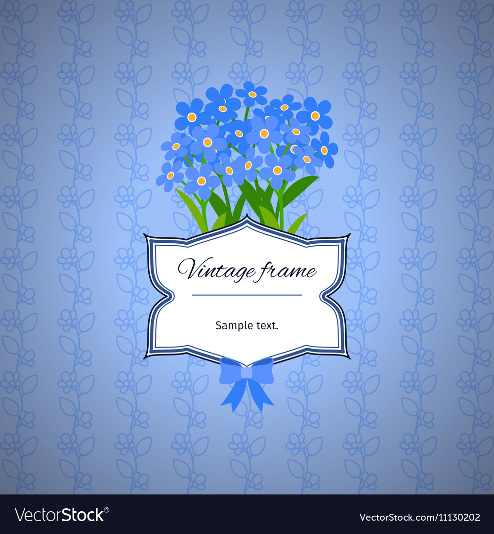 Vintage Label Design With Blue Flowers Royalty Free Vector