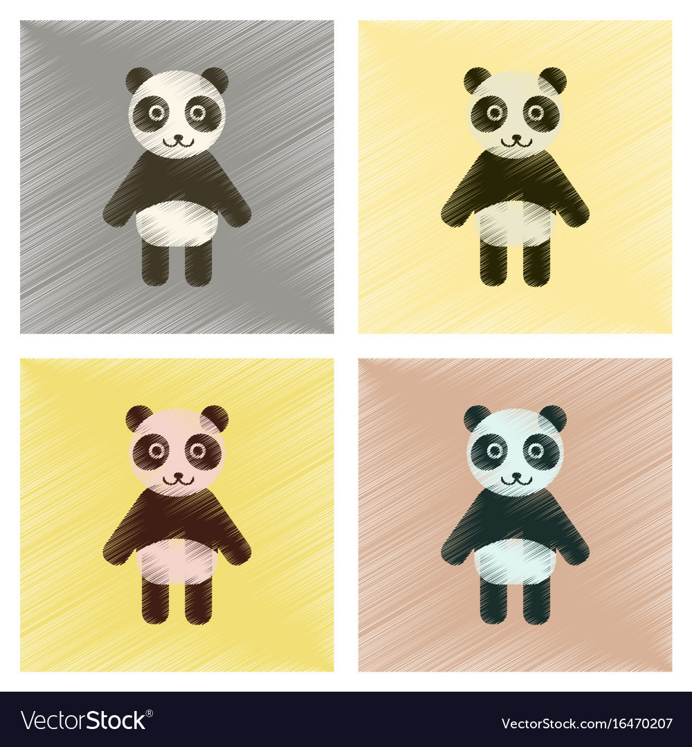 Assembly flat shading style icons panda bear