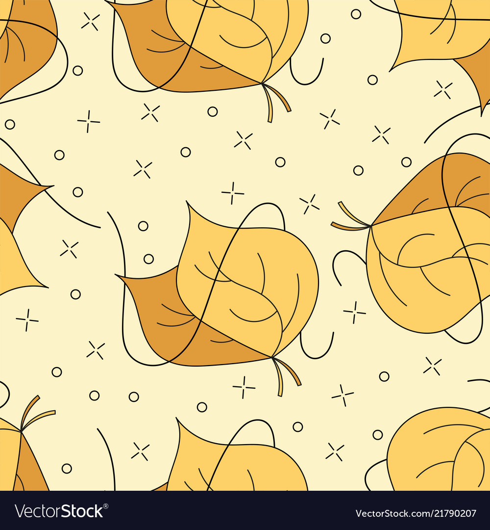 Autumnal leaves seamless pattern in yellow and