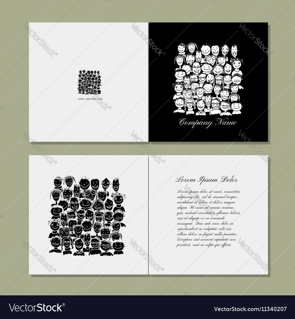 Book cover design people crowd vector image