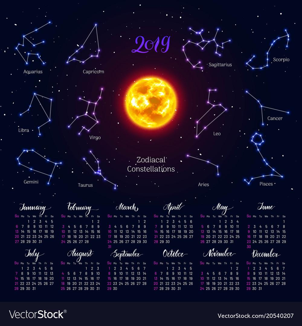 Zodiac Calendar 2019 Calendar sun zodiac signs 2019 night sky Vector Image