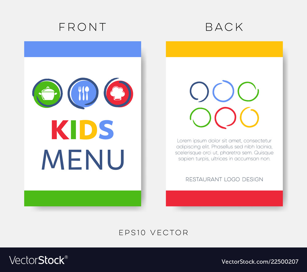 Creative Kids Restaurant Menu Or Brochure Template Vector Image