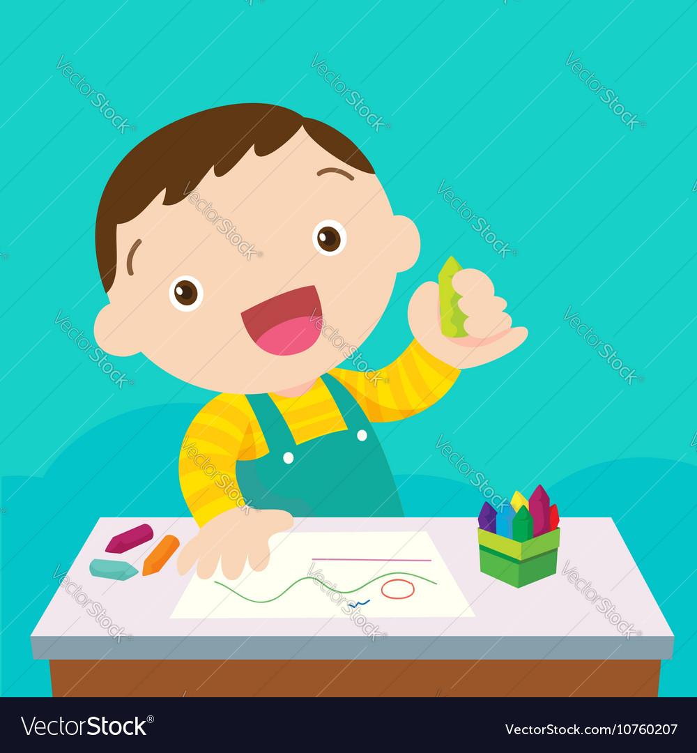 Cute boy drawing vector image