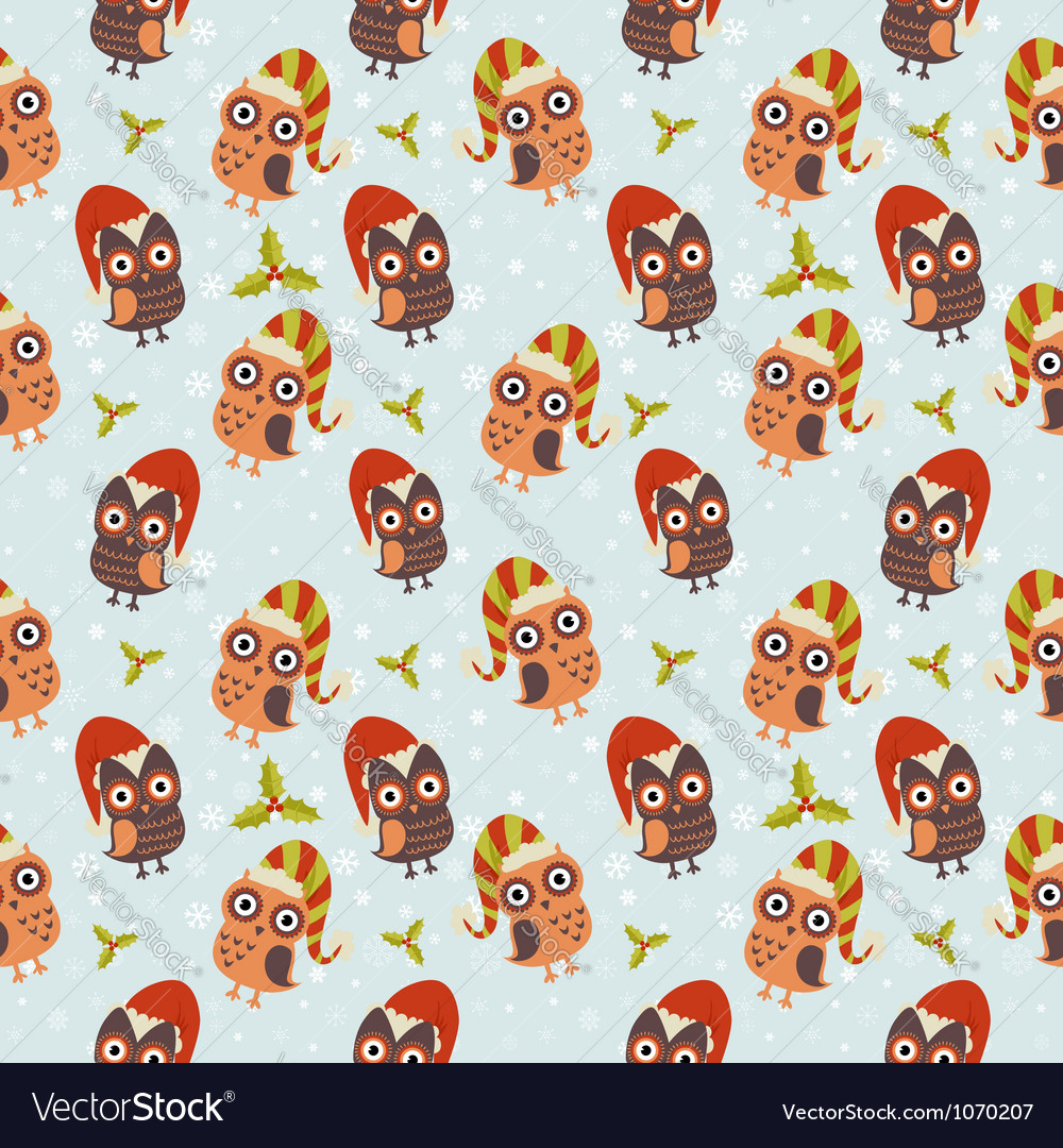 Cute Christmas owl with presents seamless pattern