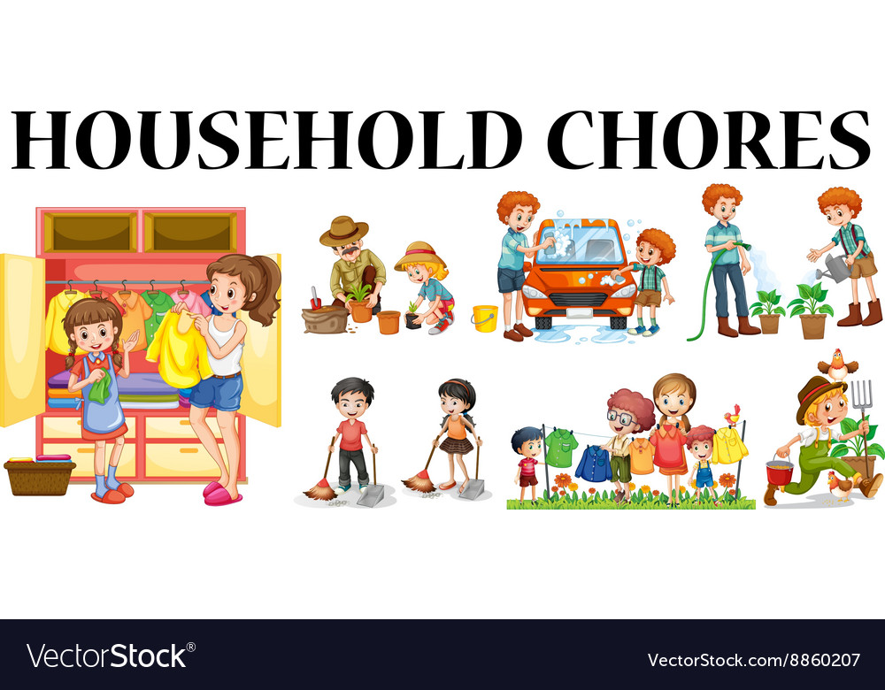 Family members doing different chores vector image
