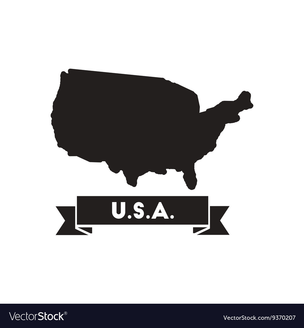 Flat icon in black and white united states map Vector Image