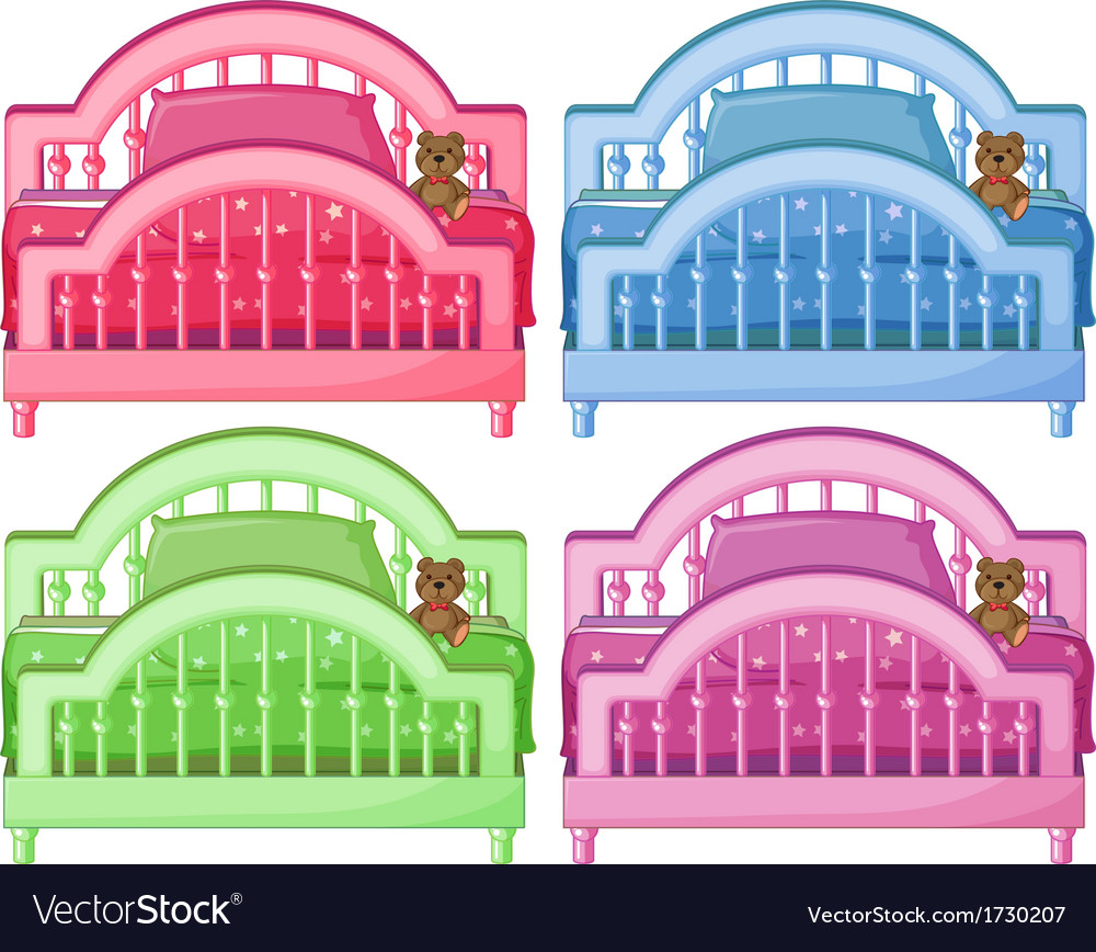 Four colorful beds