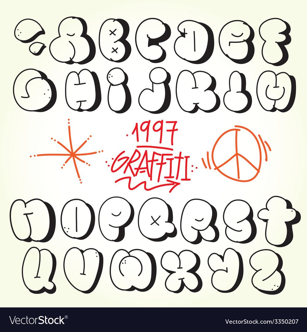 Unique Graffiti Bubble Font Vector Pictures