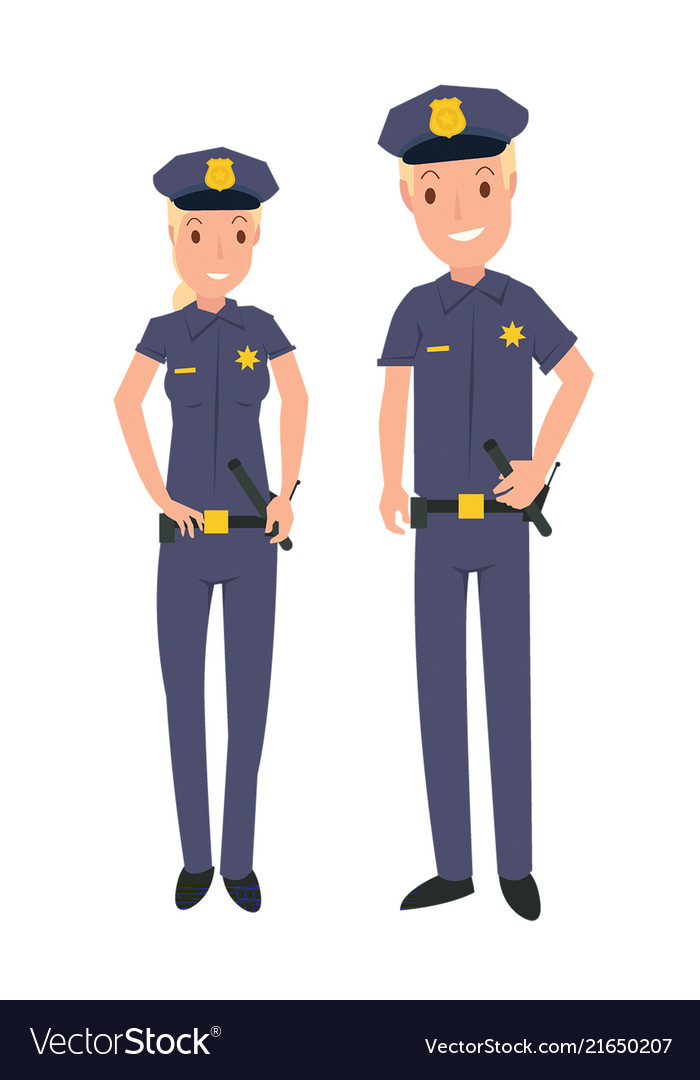 Male and female police officer in cartoon style Vector Image