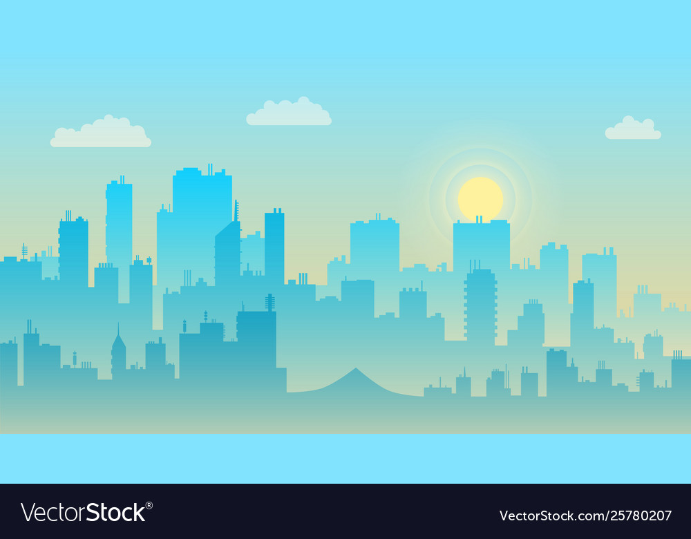 Morning sky and clouds over city silhouette