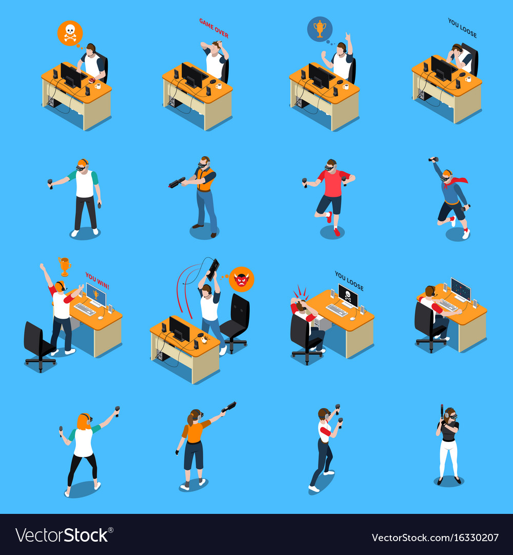 People in cyber sport isometric set vector image