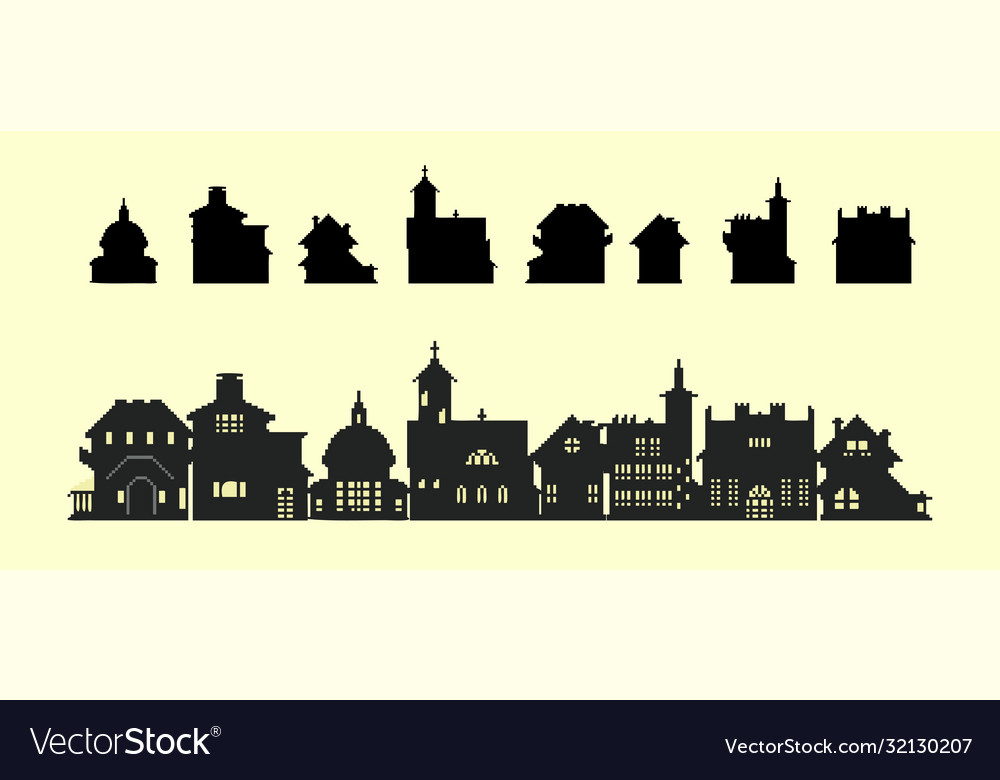 Set silhouettes houses in old style