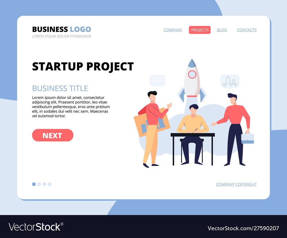 Startup project development landing page