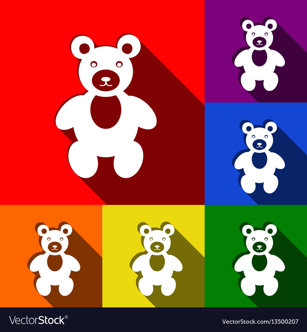 Teddy bear sign set of icons