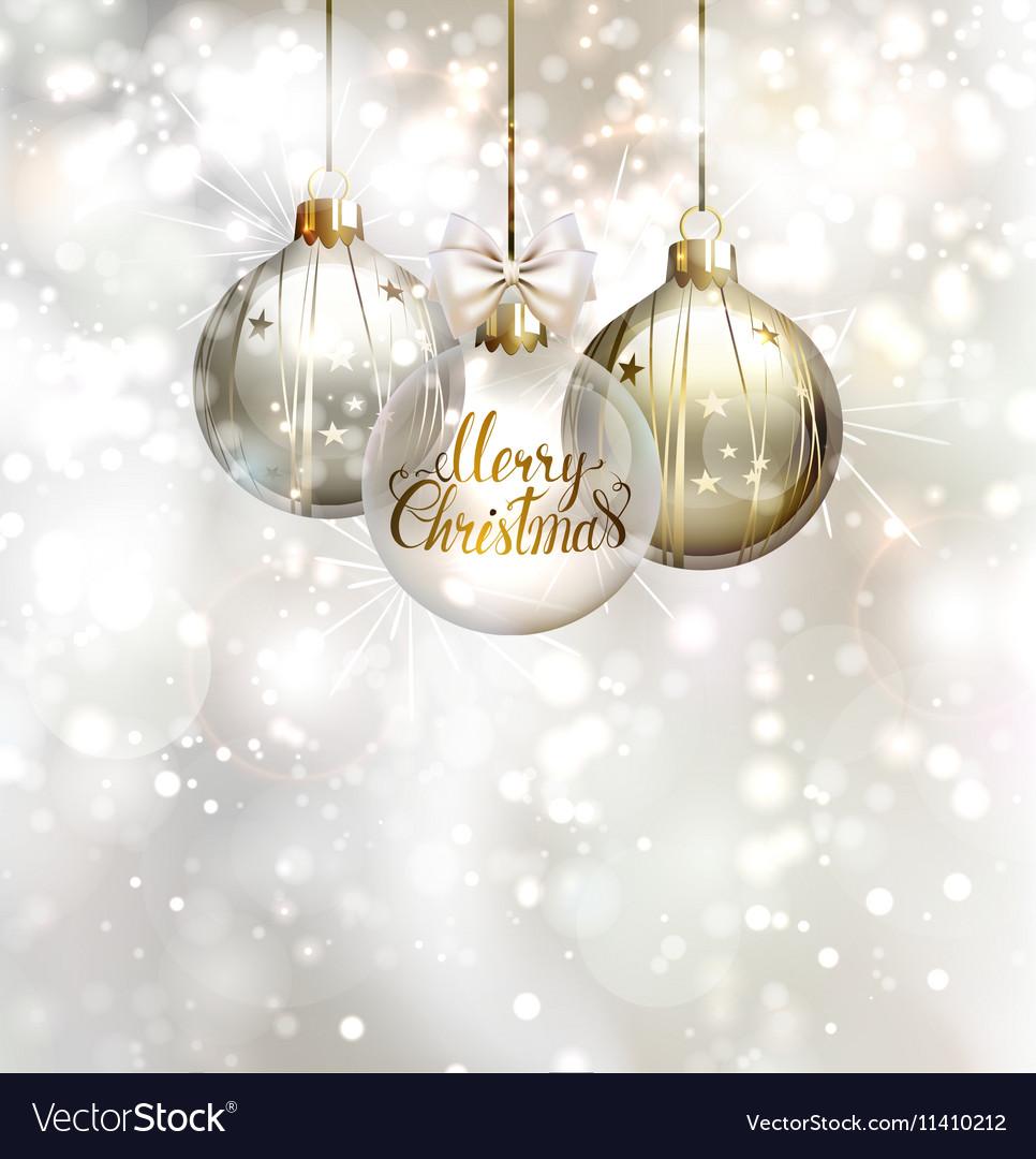 Christmas three evening balls Gold silver vector image