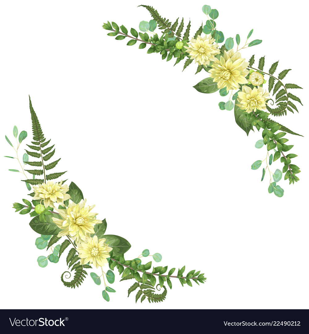 Delicate floral angular frame with dahlias fern