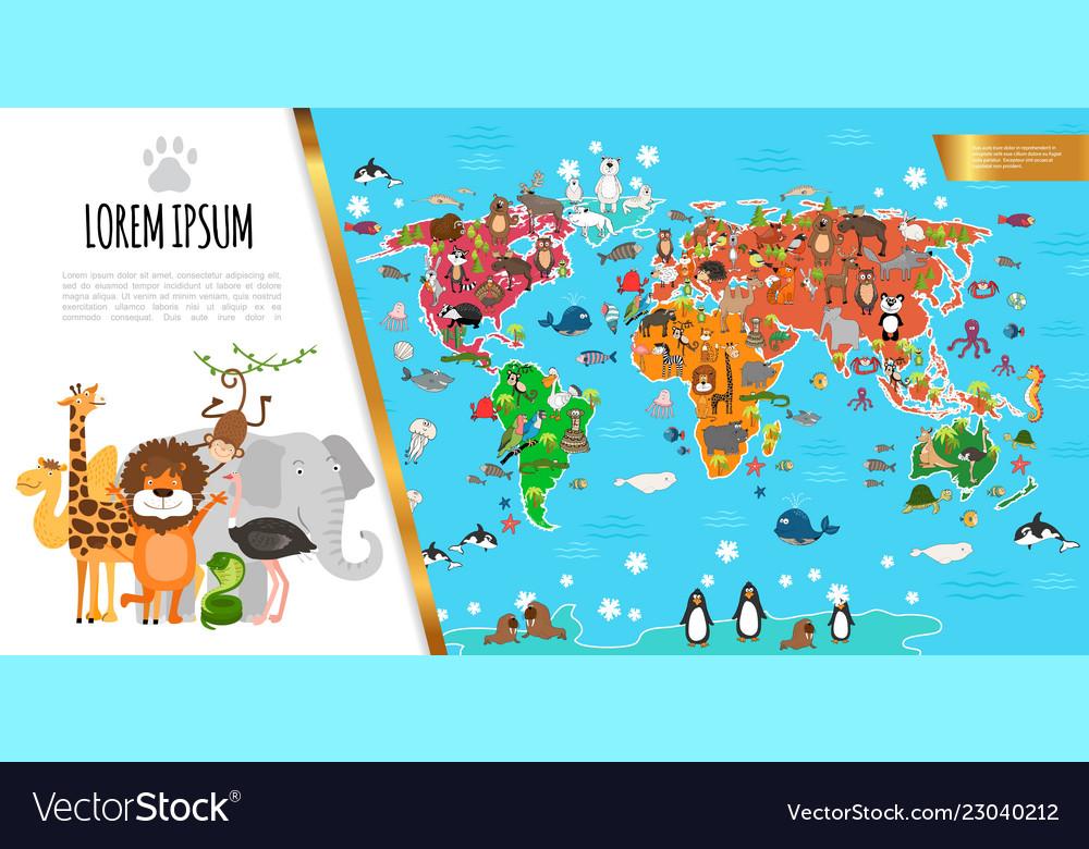 Flat fauna world map composition