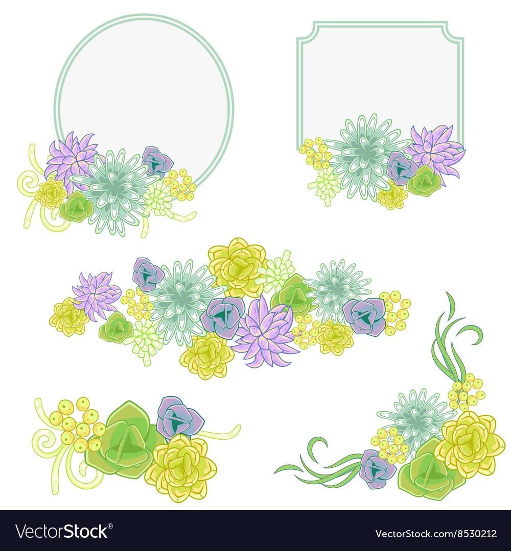 Floral banner card set Flower invitation badge