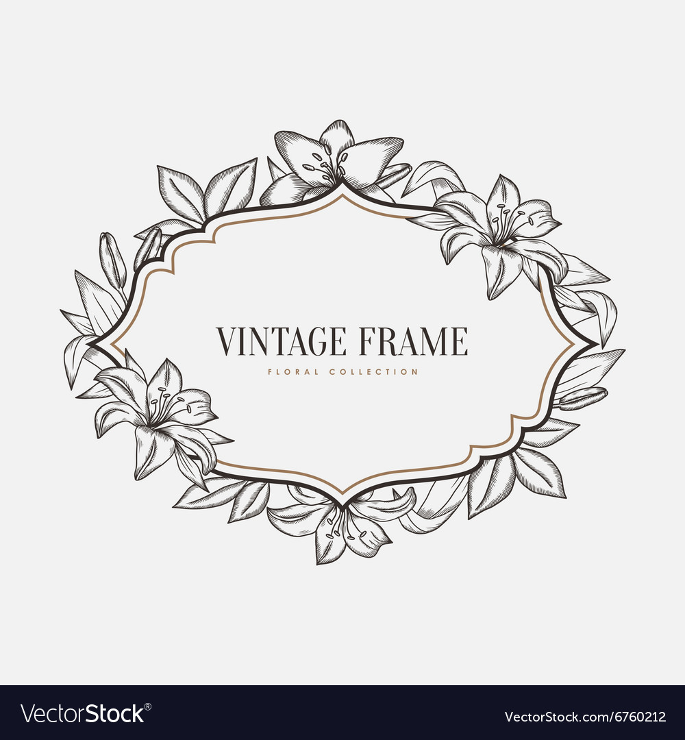 Floral vintage frame Retro style graphic
