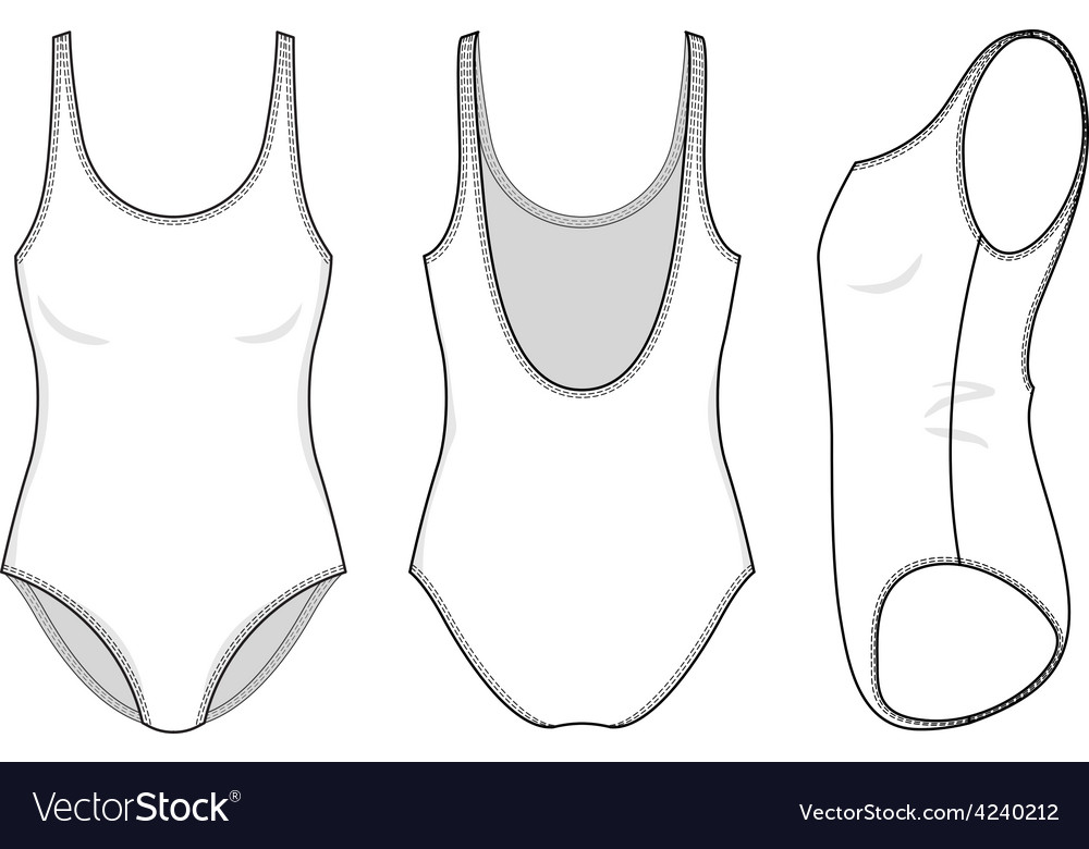 5cf4fb26311e0 Front back and side views of blank swimsuit Vector Image