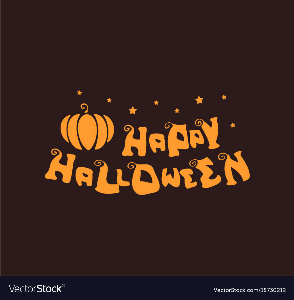 Happy halloween logo flat simple