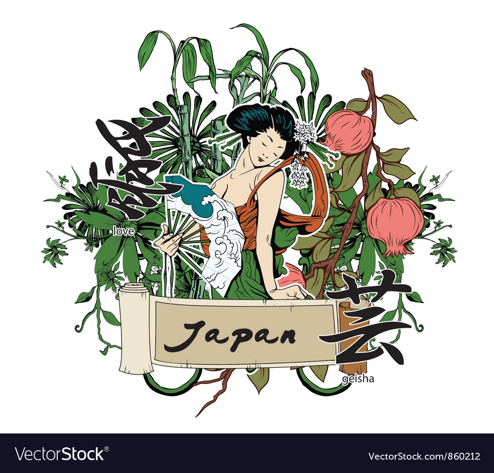 Japanese with geisha vector image