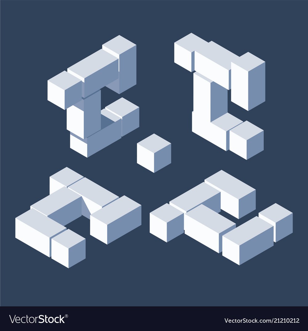 Large bundle letter c in isometric 3d style build