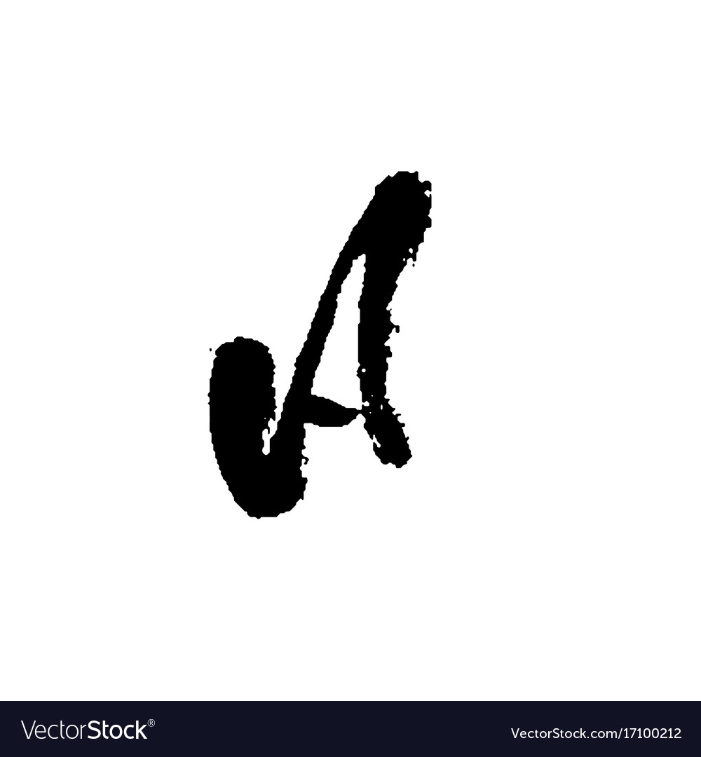 Letter a handwritten by dry brush rough strokes