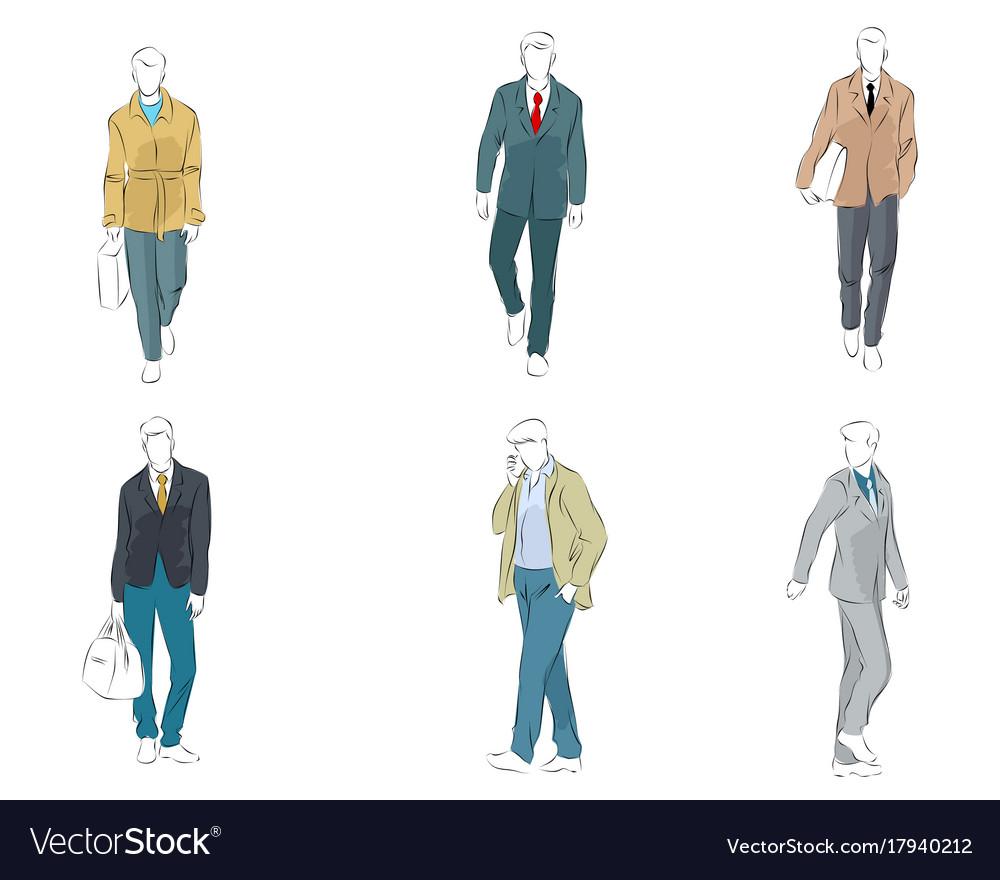 Set of six businessmen