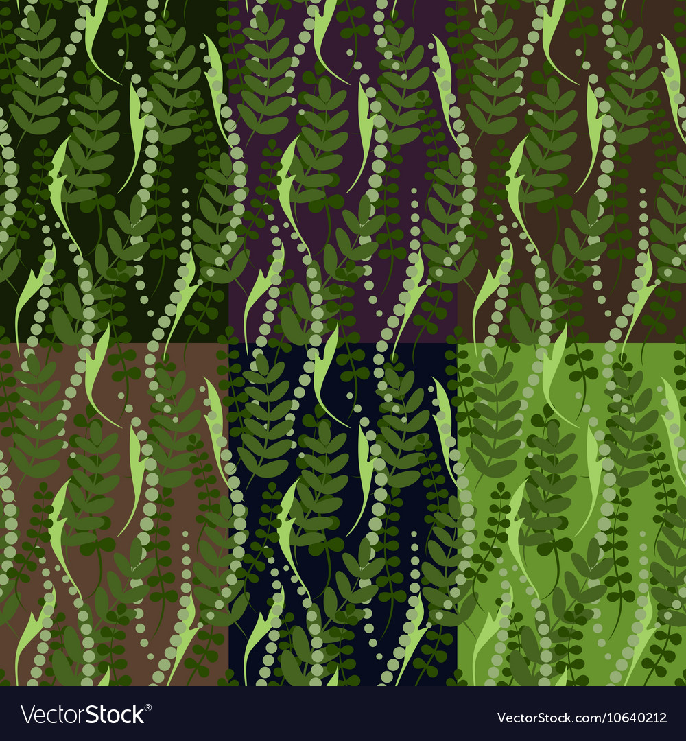 Set of six seamless patterns vector image