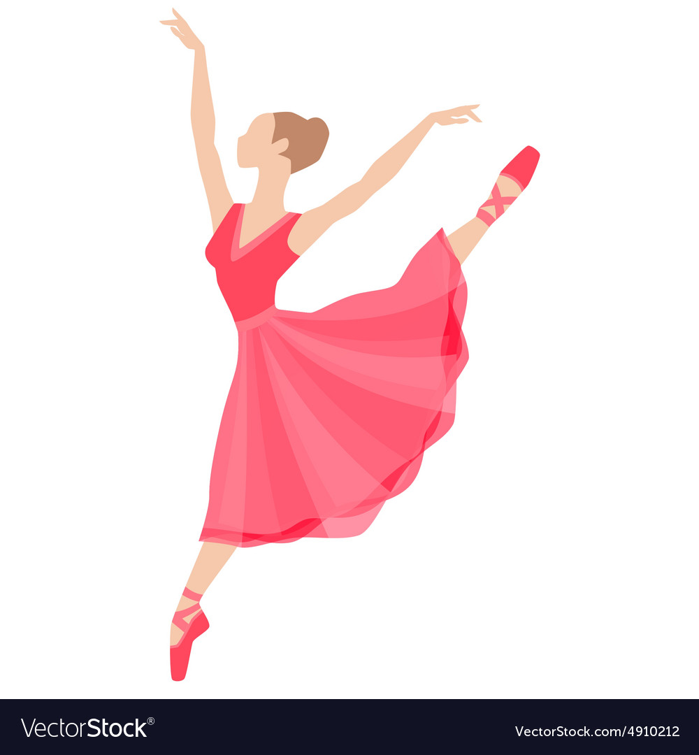 Stylized silhouette of ballerina in dress on white