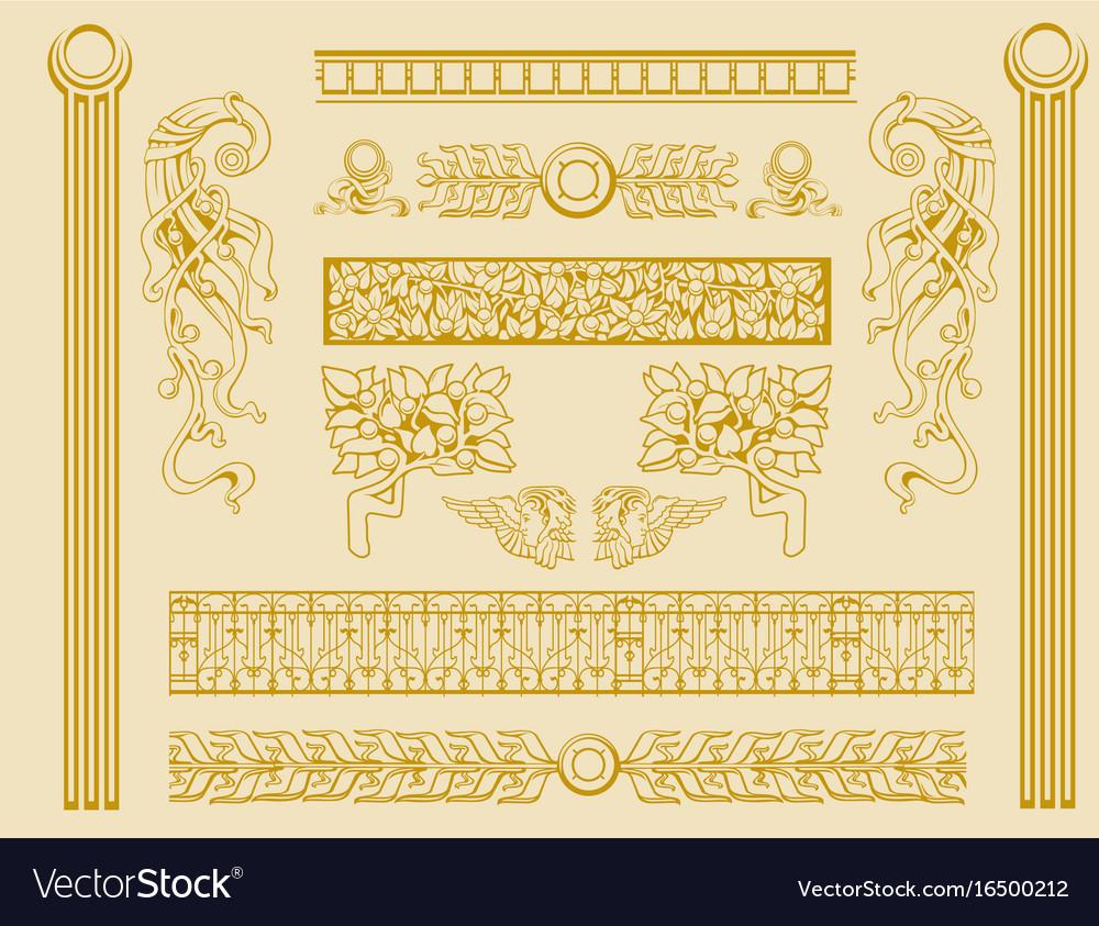 Vintage old decorations ornate design elements vector image