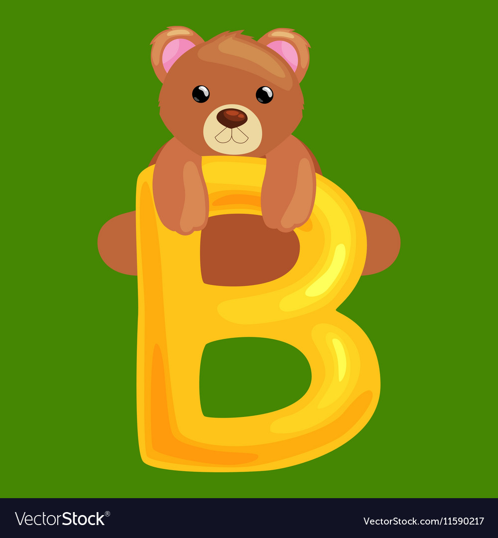 Bear letter with animal for kids abc education