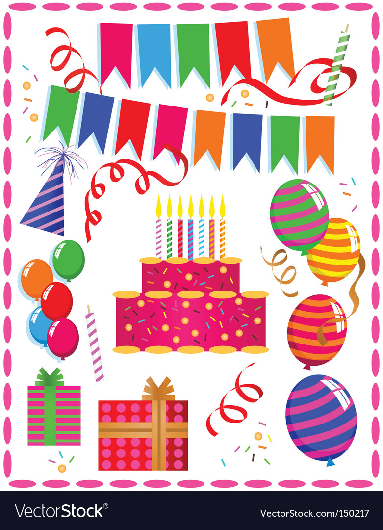 birthday ornaments royalty free vector image vectorstock
